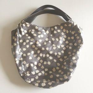 J.Crew Grey White Dot Patterned Bucket Hobo Bag